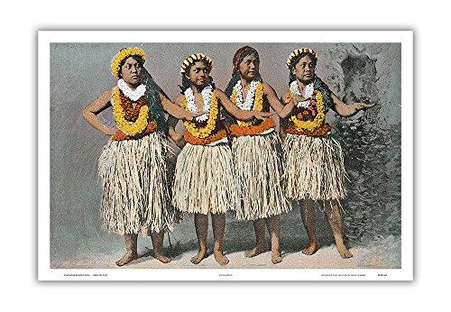 Pacifica Island Art Hawaiian Hula Dancers - Vintage Hawaiian Color Postcard c.1880s - Hawaiian Master Art Print - 12 x 18in