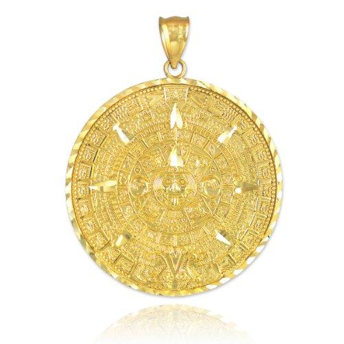"10k Yellow Gold Aztec Charm Mayan Calendar Pendant, 1.2"" Diameter"