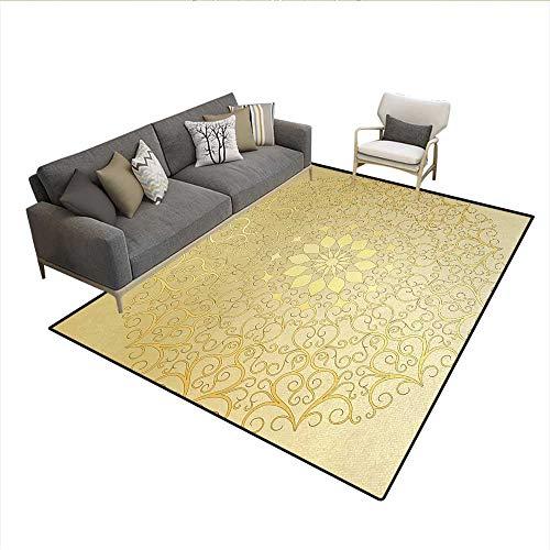 Carpet,Round Antique Motif Curvy Stylized Ornate Heart Shape Arabesque Influences,Indoor Outdoor Rug,Yellow Pale Yellowsize:6'6
