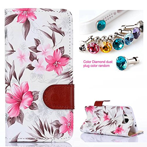 CocoZ® Samsung Galaxy Alpha G850F Case Beautiful Hawaiian Flowers PU Wallet Type Flip Case Cover with Credit Card Holder Slots for for Samsung Galaxy Alpha G850F (White Hawaiian Flowers)