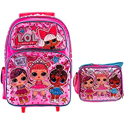 LOL Backpack with Matching Lunch Box Combo Book Bag, Travel Picnic with 4 Dolls L.O.L Surprise! (16