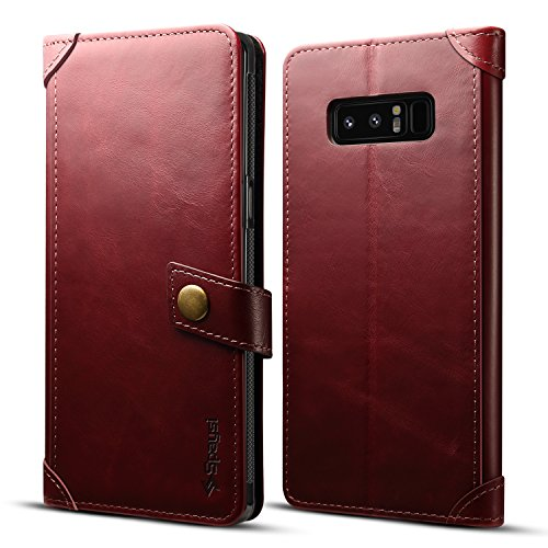 - Spaysi Samsung Galaxy Note 8 Wallet Case Italian Genuine Leather Handmade Case for Note 8 Card Holder Case Slim Note 8 Flip Cover Case Book Style Galaxy Note 8 Folio Case Magnetic Closure (Wine)