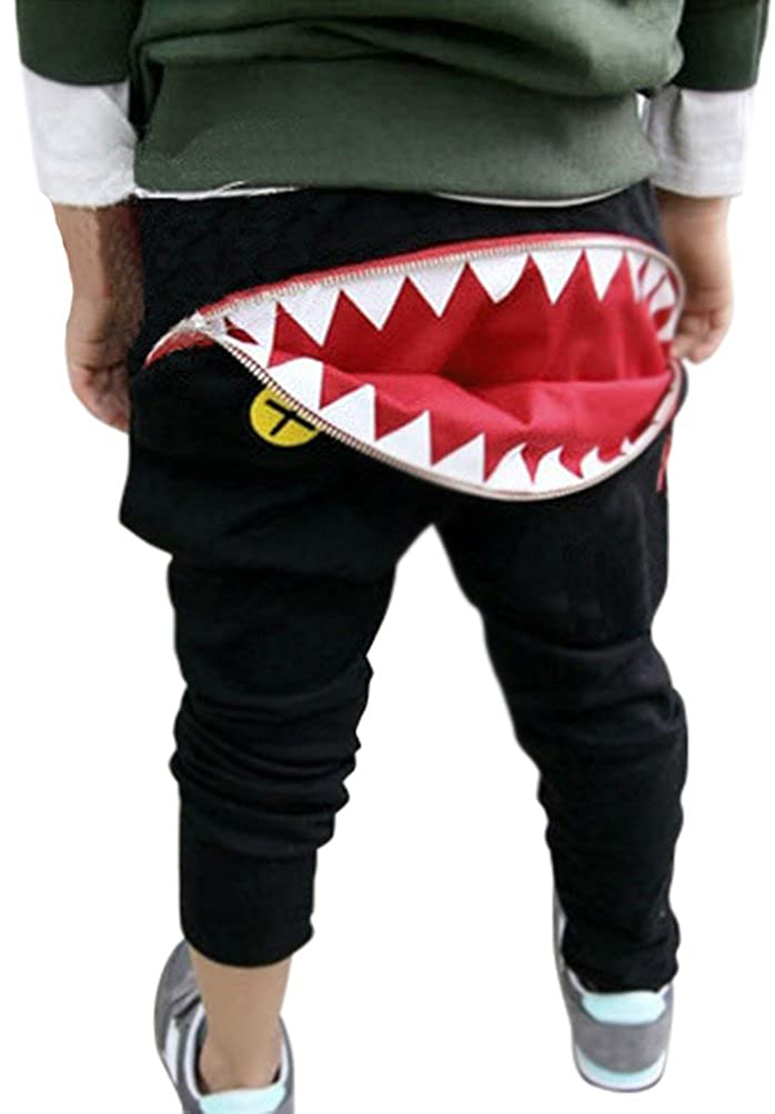 Fairy Wings Boys Girls Cotton Shark With Zipper Pants Trousers