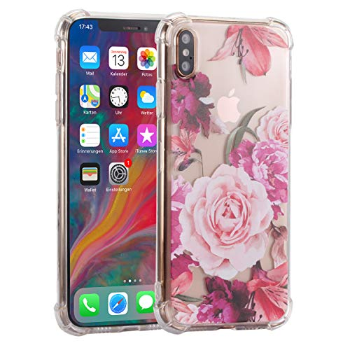 Fifi Clear Slim Shockproof Flower Floral Design Soft Flexible TPU Silicone Back Cover Phone Case Compatible with iPhone Xs(Pink Rose)
