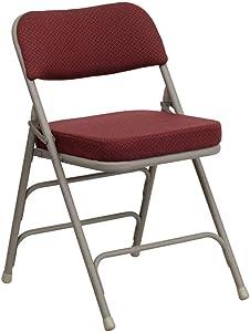 Flash Furniture 4 Pk. HERCULES Series Premium Curved Triple Braced & Double Hinged Burgundy Fabric Metal Folding Chair