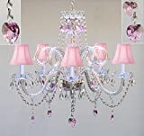 Swarovski Crystal Trimmed Chandelier! Chandelier Lighting W/ Crystal Pink Shades & Hearts! H25'' X W24'' Swag Plug In-Chandelier W/ 14' Feet Of Hanging Chain And Wire! - Perfect For Kid'S And Girls Bedroom!