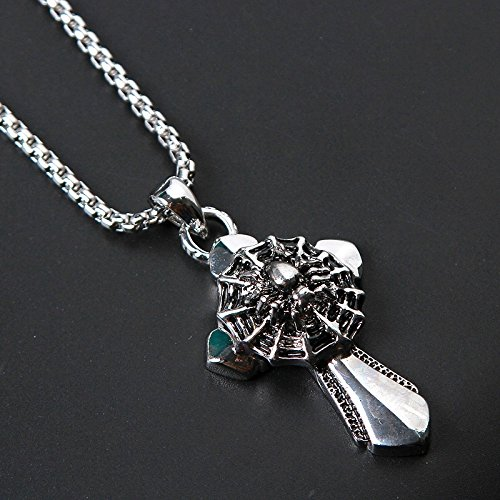 Retro Men's Steel Necklace Pendant Pendants Men Kito Eagle Logo Military Personality Punk Wave Men Jewelry (Cross Spider ()