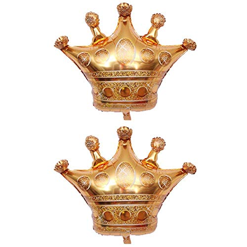 BinaryABC Gold Crown Foil Balloons, Baby Shower Wedding Birthday Party Decorations Photo Props,2Pcs