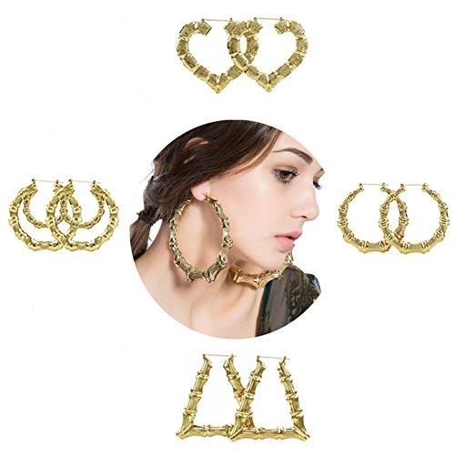 Gold Fashion Heart Earrings - Shoopic Heart Shaped Bamboo Hoop Earrings for Girls Gold