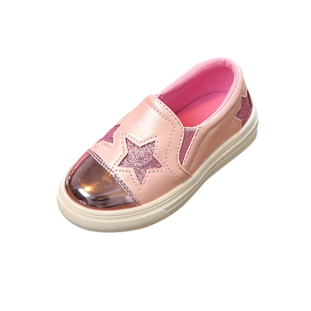 Toddler Girls Causal Slip-on Shoes Trainers Spring Summer Fashion Star Print Flat Bottom Shoes Sports Walking Running Sneakers