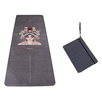 WWWW PIDO Travel Yoga Mat Suede Natural Rubber Non Slip Gym Mat with Canvas Bag,72