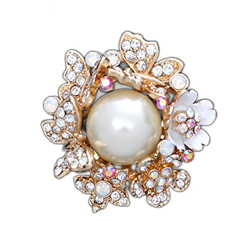Maikun Scarf Ring Flower Butterfly Brooch Circle Pearl Rhinestone Scarf Jewelry