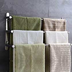 Lightinthebox Mirror Polished Wall Mounted Stainless Steel 23.6 Inch Polished Finish Three Towel Bars Towel Rack