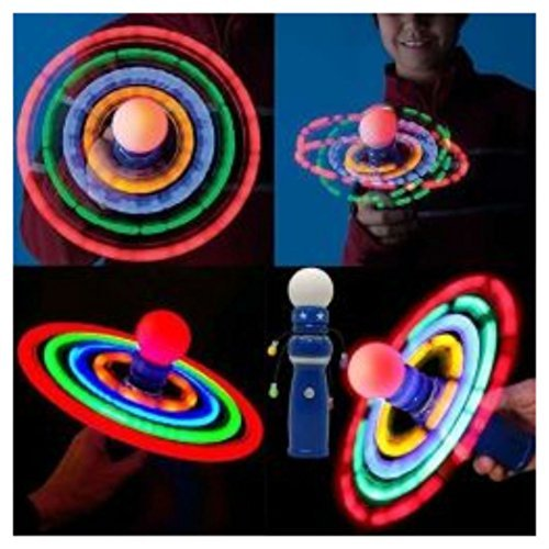 Spinner Ball Led - Planetary Spinning Galaxy Atom LED Light Ball Toy Spinner Wand Rave Autism Awareness