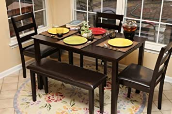 LIFE Home Home Life 5pc Dining Dinette Table Chairs U0026 Bench Set Espresso  Finish 150236