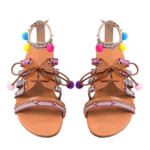 Fashion Women Shoes Sandal (Inkach Women Flat Sandals Fashion Bohemian Summer Sandals Ankle Wrap Lace-up Shoes With Pom Poms (8.5, Multicolor))