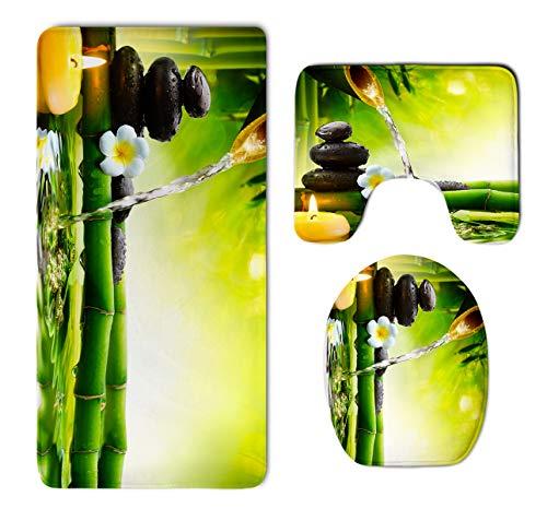 (HOMESTORES Asian Zen Garden Orchid Candle Stone Bamboo Zen Bathroom 3-Piece Mat Sets Pedestal Mat+Lid Toilet Cover+Bath Mat Doormat Non-slip Rug)