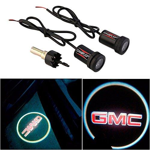 CHAMPLED® For GMC Laser Projector Logo Illuminated Emblem Under Door Step courtesy Light Lighting symbol sign badge LED Glow Car Auto Performance Tuning Accessory