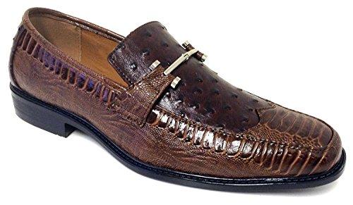 Pazzini Mens Chaussures Habillées Mode Mocassins Décontractés Slip Sur  Lézard Dautruche Style Italien Imprimé Serpent Marron ... 84a3fdadf5fb