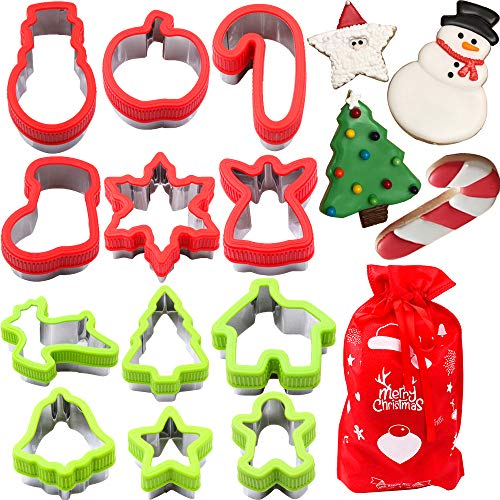 MEIGUISHA 12 Pieces Stainless Steel Christmas Cookie Cutters For Christmas Cookies, Snowflake Cookies, Gingerbread Man Cookies, Christmas Party and Baking Gift
