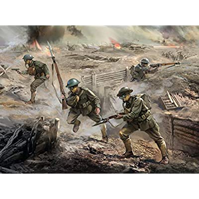 ICM 1/35 Scale US Infantry in Gas Masks (1918) (4 Figures) - WWI US Army Figures Model Building Kit # 35704: Toys & Games
