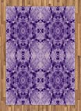 Tie Dye Decor Area Rug by Ambesonne, Thai Style Motif Generated with Square Shaped Kaleidoscope Murky Toned Forms, Flat Woven Accent Rug for Living Room Bedroom Dining Room, 5.2 x 7.5 FT, Purple
