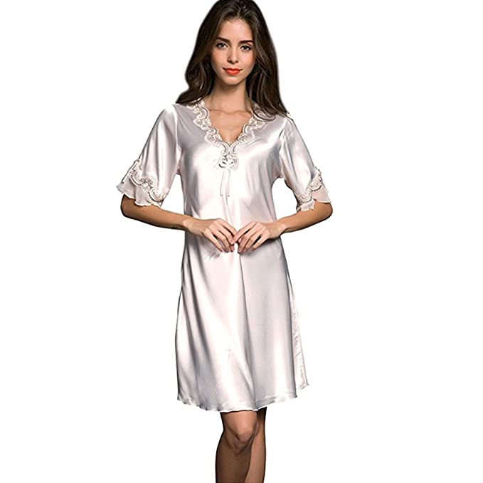 6bab4009d3 SUNBABY Women Satin Sleepwear Dress V-Neck Short Sleeve Nightgown Lace Sleep  Lingerie Dress (
