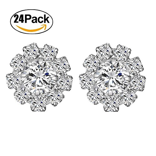 Wholesale 24PCS 16MM Small Clear Rhinestone Buttons Metal Crystal Glass Button (Flatback)