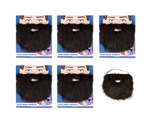 Capital Costumes Costume and Character Beard With Elastic - Pack Of 5 (Black)