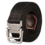kids d ring belt - Drizzte 39'' Long Double D Ring Mens Canvas Cloth Web Belt Black