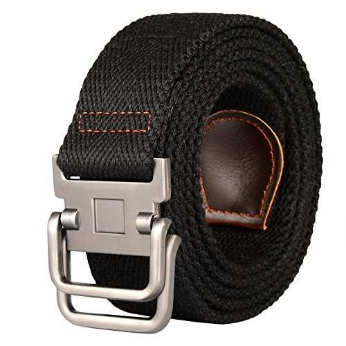 Drizzte 43'' Long Double D Ring Mens Canvas Cloth Web Belt Black