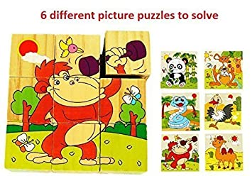 Mayatras Early Age 6 in 1 Wood Block Puzzles for Small Kids. (Funny Animals/Zoo Animals Theme)