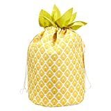 Drawstring Home Laundry Bag – Pineapple Design Portable Laundry Bag, Laundry Hamper Bag, Yellow - 13 x 19 x 13 Inches