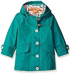 Joules Little Girls\' Coast Showerproof Coat, Soft Emerald, 5