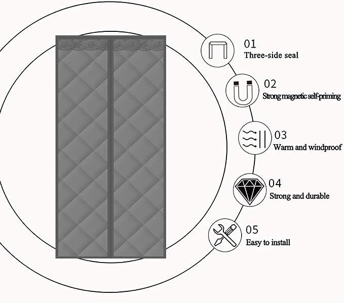 Aislante Ventana Cortinas Aislantes Termicas Aislamiento Ac/ústico Anti-Frio,4,80 SXHYL Protector De Puerta Magn/ético 190
