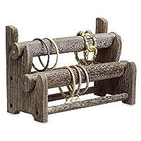 Ikee Design Wooden 2-Tier Bar Bracelet/Bangle Jewelry Holder Stand Display Organizer