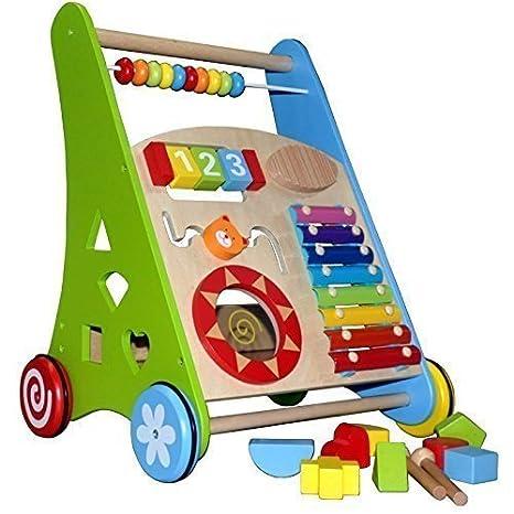 Andador ~Actividad Walker ~ Baby Walker de madera con Xylofón y Holzsteckspiel: Amazon.es: Bebé