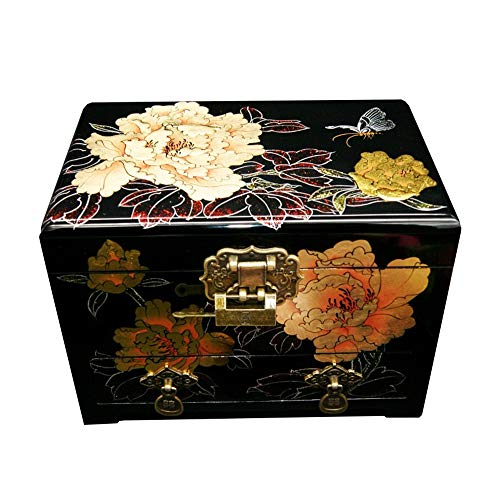 HAIHF Jewellery Box, Handmade Mother of Pearl Inlaid Jewellery Box With Lacquer Finish, Jewellery Organiser, Chinese Vintage Painted Lacquer Crafts Jewelry Box