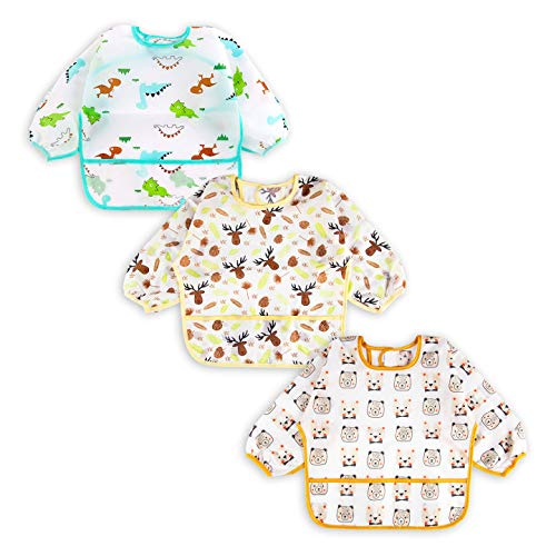 3 Pcs Long Sleeved Bib Set | Baby Waterproof Bibs with Pocket Bundle | Toddler Bib with Sleeves and Crumb Catcher | Stain and Odor Resistance Play Smock Apron - Pack of three | 12-24 Months