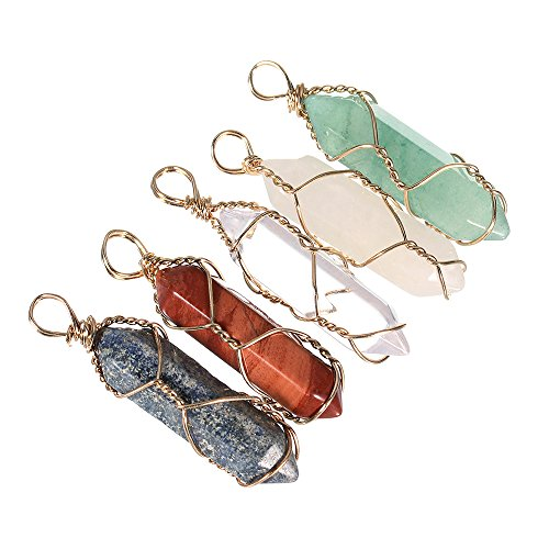 Linsoir Beads 5pcs Mixed Natural Gemstones Hexagonal Pointed Healing Reiki Chakra Wire Wrap Pendant Beads For Necklace Jewelry Craft Making Random Color - Wire Wrap Pendant Beads