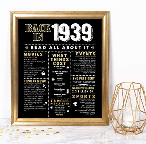 - Katie Doodle 80th Birthday Decorations Party Supplies Gifts for Women or Men | Includes 8x10 Back-in-1939 Sign [Unframed], BD080, Black/Gold