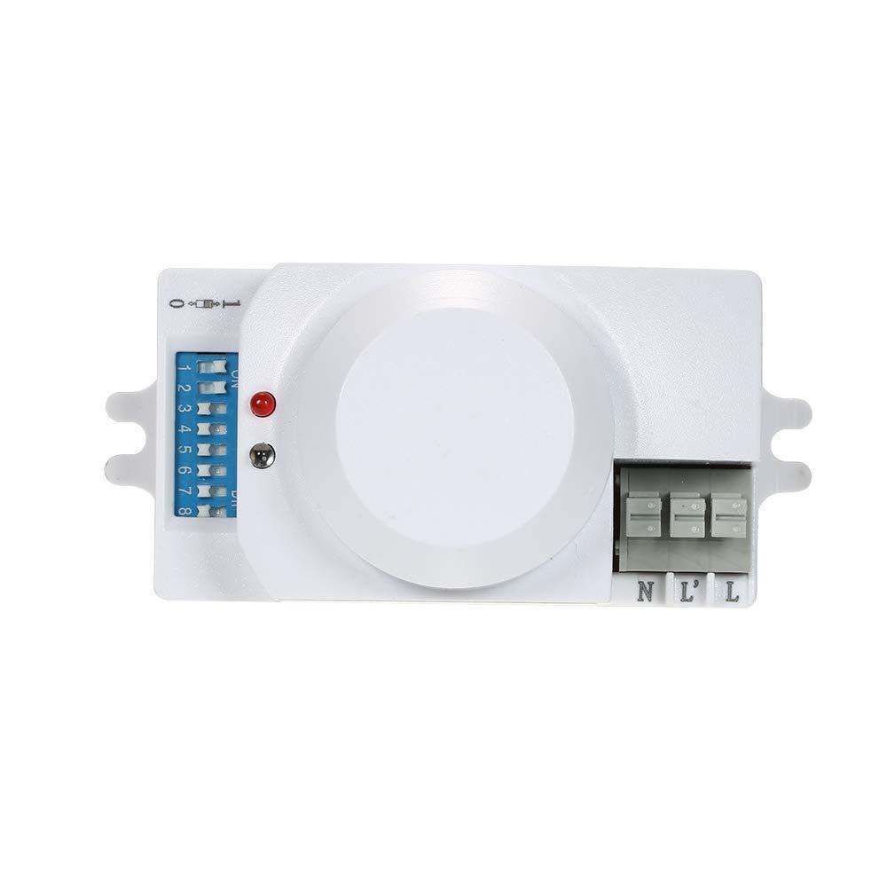 Festnight AC220-240V Microwave Radar Sensor Light Switch Intelligent Optique R/églable Micro-Ondes Induction Motion Sensor Capteur Plafond Encastrable PIR Module de Commutation Degr