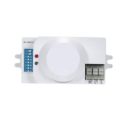 OWSOO Interruptor de Sensor de Movimiento AC220-240V Radar de Microondas Módulo de Interruptor 360