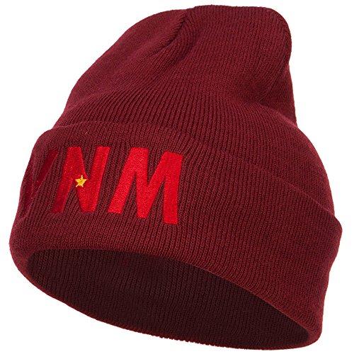 (e4Hats.com Vietnam VNM Flag Embroidered Long Beanie - Maroon OSFM)