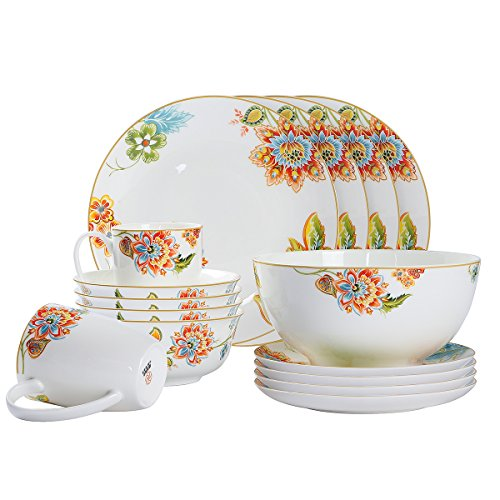 Mose China, 17 - Piece Premium Bone China Porcelain Dinnerware Complete Set Service 4 People - Elegant & Beautiful Glazed Iranian Flower with