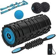 Foam Rolling Set - 6 in 1, Includes Foam Roller, Massage Stick, Peanut Ball, Lacrosse Ball, and Stretching Str