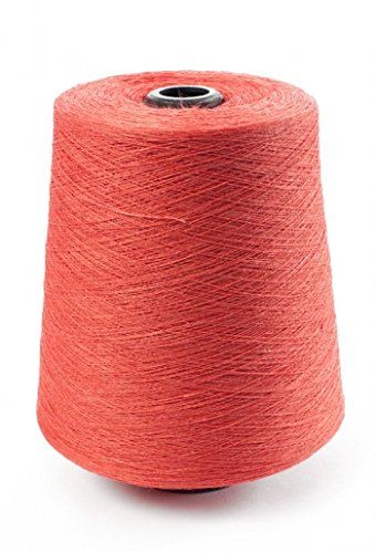 100% Linen Lace Yarn Pink Turquoise Brown Orange 1lb Cone 3-ply Flax (Orange Coral)