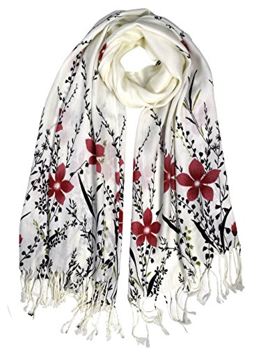 Blue Silk Wrap (Peach Couture Luxury Silk Feel Floral Vine Fringe Scarf Shawl Wrap Red)