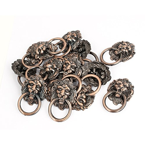(uxcell Vintage Style Drawer Cabinet Door Lion Head Ring Pull Handle 15 Pcs )