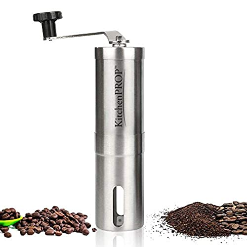 Kitchen Pro Original Stainless Steel Manual Coffee Grinder Perfect for Travelling Small and handy AeroPress Compatible, Great Quality at a Low Price